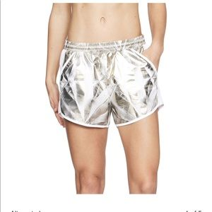 Under Armour Gold Metallic Foil Fly By Shorts